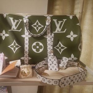Louis Vuitton Giant Monogram Khaki Keepall 50